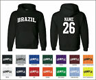 Country of Brazil Custom Personalized Name & Number Jersey Hooded Sweatshirt