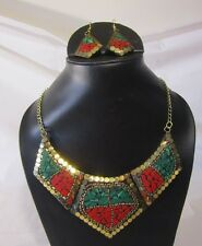 BRASS MADE TURQUOISE CORAL GOLD  NECKLACE! NEPALI TIBETAN  STYLE WOMEN EJWEL!!