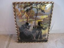 Vintage Silhouette Metal Frame Convex Glass Lady & Man Picture!!!