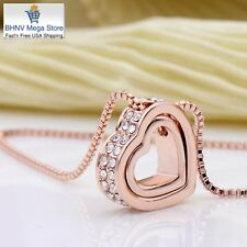 Mothers Day Jewerly Pendant Necklace 18K Rose Gold Plated Dual Heart Swarovski