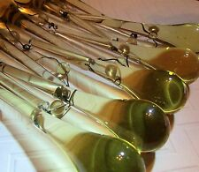 "10 VTG Antique Yellow Crystal Teardrop Prism 4"" Chandelier Lamp Repair Refurbish"