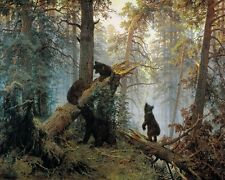 """Art Print Bear in the Forest Oil painting Picture Printed on canvas 16""""x20"""" P026"""