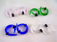 Pair CLEAR  Crossover Glass Ear Plugs Tapers Expanders Gauges Claws 6g ML16