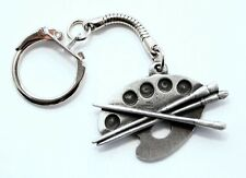 Artist Paint Palette Key-ring (keychain), Fine English Pewter, Handmade (H)