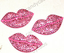 CandyCabsUK Sparkling Rhinestone Alloy Lips Lipstick Cabochon DIY Kit 50mm Pink
