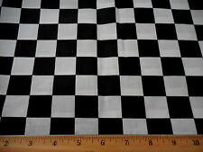 "Cotton Fabric BTY Black & White 1"" Checked Checkerboard 60"" Wd Nascar Quilting"