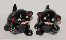 IMMACULATE Vintage BLACK CAT Made in Japan Redware Salt/Pepper Shakers!