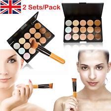2x 15 colors Concealer palette kit with brush face makeup contour cream, Palette