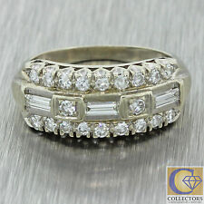 1930s Antique Art Deco 14k Solid White Gold .75ctw Baguette Diamond Ring