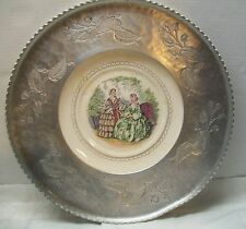Farberware Wrought Aluminum Serving Tray with Victorian Style Plate Vintage