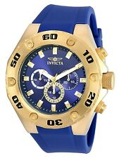 Invicta Mens 50mm Specialty Gold Tone SS Blue Polyurethane Strap Watch
