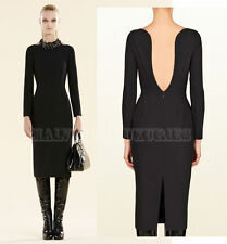 $1,900 SENSUAL GUCCI DRESS BACKLESS LONG SLEEVES BLACK STRETCH WOOL IT 44 US 8