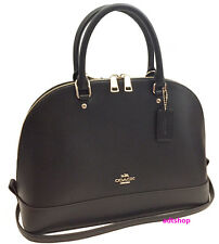 NWT Coach Sierra Satchel Dome In Crossgrain Leather Black Dome Purse 37218