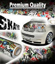 1000mm x 1000mm Gloss SKATE StickerBomb Air Drain Vinyl - Car Wrap / Sticker