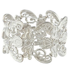 Lux Accessories Matte Silvertone Lace Casted Stretch Boho Bracelet for Women