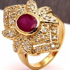 2.8Ct Natural Red Ruby and Diamond 14K Solid Yellow Gold Ring