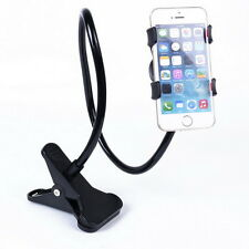 Gooseneck Flexible Aluminum Long Arm Phone Mount Holder Clip Desk Lazy - Black