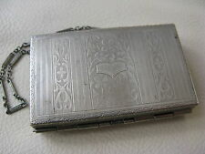 Antique Engraved Silver Tone Spring Loaded Card Case Purse Dance Compact RM Co