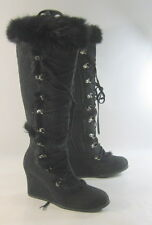 "Blacks 3.5""high WEDGE HEEL sexy knee boots rabbit fur  on top  Size.  8.5"