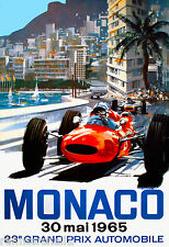 1965 23rd Monaco Grand Prix Automobile Race Car Advertisement Vintage Poster