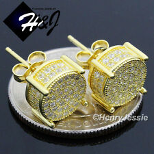 MEN 925 STERLING SILVER 10MM LAB DIAMOND ICED BLING GOLD ROUND STUD EARRING*GE82