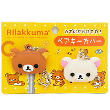 San X Rilakkuma Key Cap 2pc Set -Rilakkuma and Korilakkuma Bear Key Holder