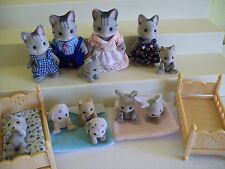 CALICO CRITTERS Fisher Cat Family Grey Tiger Lot (LOST TAILS) Bunnies Puppies