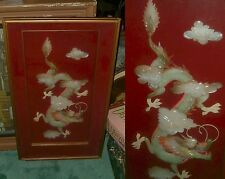 RARE 1950's FRAMED LARGE DRAGON CHINESE ANTIQUE LOVELY Mother of Pearl 1900-1940