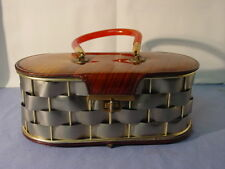 Vintage Metal Basket Weave Lucite Handle Purse Handbag