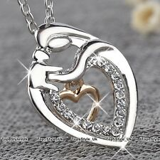 CHRISTMAS GIFTS FOR HER WOMEN Silver Heart Necklace Mother Mum Daughter Girls K2
