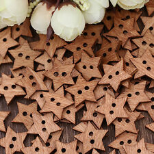 100Pc 2 Holes Star Shape Wooden Button Scrapbook Craft Sewing Buttons up-to-date