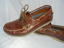 M&S BLUE HARBOUR MEN'S NROWN LEATHER LACE UP LOAFER SHOES SIZE UK 6.5 EU 40 VGC