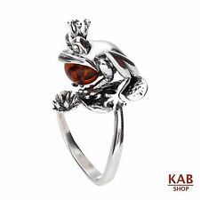 COGNAC BALTIC AMBER STERLING SILVER 925 JEWELLERY RING- FROG, KAB-R24