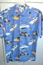 Bluewater Wear  Mens Small  Hot Rods Auto & Fishing on Blue/Mint