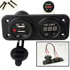WIRED MOTORCYCLE  BOAT RV WATERPROOF RED DUAL USB SOCKET CHARGER AND VOLTMETER