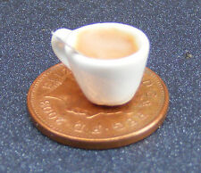 1:12 Scale Tea In A White Ceramic Cup & Spoon Dolls House Miniature Accessory