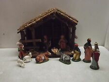VINTAGE WOODEN MADE IN ITALY MANGER & NATIVITY FIGURES SET