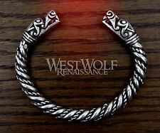 Silver Viking Dragon Head Bracelet --- Norse/Medieval/Pewter/Jewelry/Torc/Loki