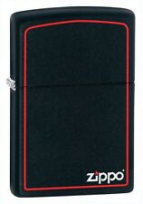 Zippo 218ZB, Red Border, Black Matte Finish Lighter,  Full Size