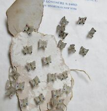 Vintage Antique Clear Glass Butterfly Buttons Original Card 1 Doz Doll