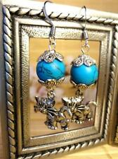 EARRINGS, KITTY, PEWTER KITTEN WITH TURQUOISE SEMI PRECIOUS