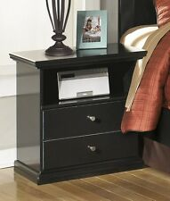 Casual Cottage Design Black Finish Ashley Night Stand Bedroom Wooden Furniture