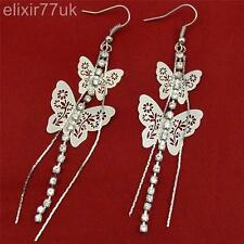 NEW LONG SILVER BUTTERFLY DIAMANTE CRYSTAL TASSEL DROP DANGLE CHANDELIER EARRING