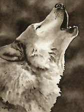 WOLF / WOLVES Watercolor ART Print Signed by Artist DJR