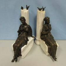 Vintage pair of Classical bronze and marble sculptures with lady with rose birds