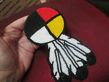 Beaded Native Style hair clip Barrette feathers four directions Medicine Wheel