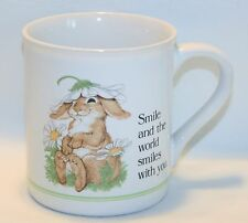 Smile and the World Smiles with you Bunny Flower Mug Coffee Cup Current Critters