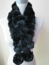 free shipping /real  handmade triplex   rabbit fur scarf new style black