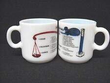 Rare Lot 2 vtg milk glass mugs Liquid Measure Weight Conversion Table no marks