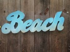 Retro Recycled Metal Sign-BEACH - Vintage- Wall Art~ Summer Fun!